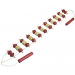 Red Beige Wood Back Body Massager Roller Stress Relief Tool